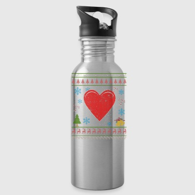 Heart Emoticon Love Christmas Ugly Shirt Love You Icon - Water Bottle