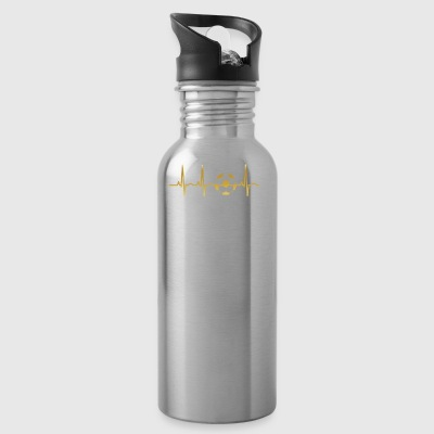 evolution ekg heartbeat fussball ultras stuermer t - Water Bottle