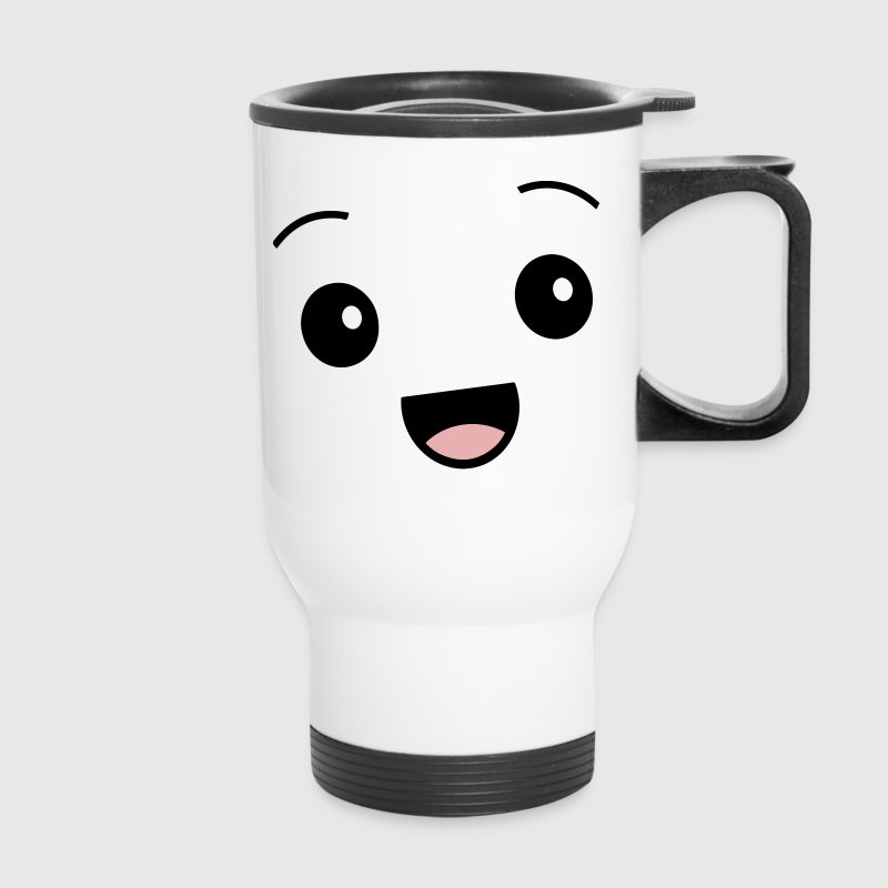 Kawaii Happy Face Smiley Cute - Travel Mug