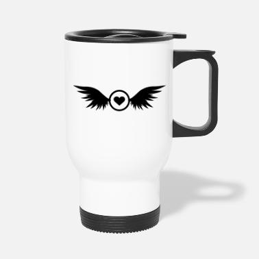 circle heart with wings - Travel Mug