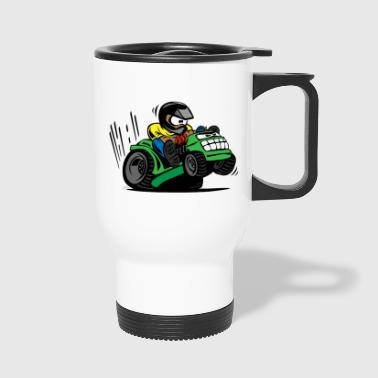 Racing Lawn Mower Cartoon - Travel Mug