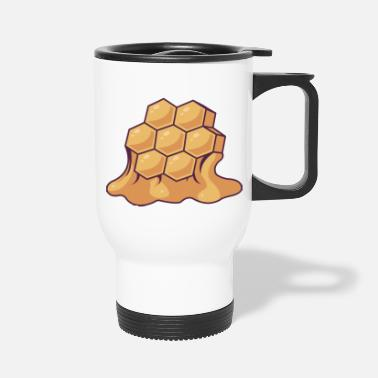 Bee Honey Comb With Drippping Honey - Travel Mug