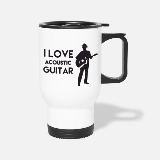 Eguitar Mugs & Drinkware - I love acoustic guitar - Travel Mug white