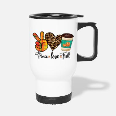 Pretty Peace, Love, Fall Leopard Pumpkin Spice Latte - Travel Mug