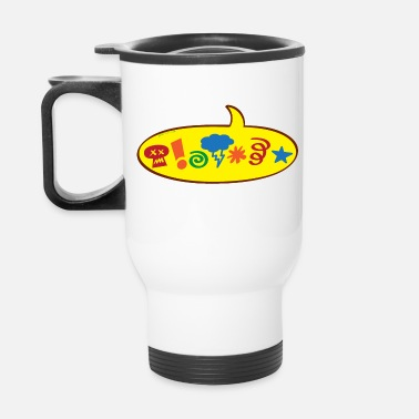 Asterisk Cursing bad words speech balloon - Travel Mug