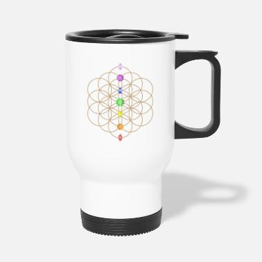 Age Flower Of Life With Chakra Stones - Travel Mug