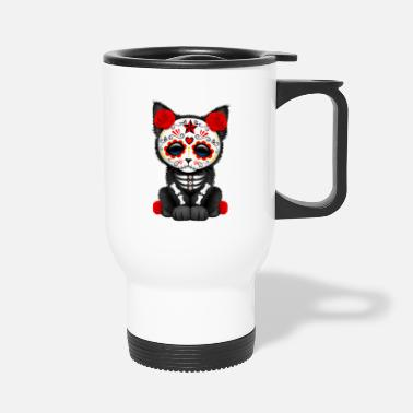 Skull Red Sugar Skull Kitten - Travel Mug