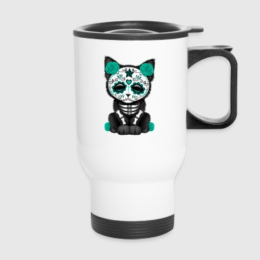 Blue Sugar Skull Kitten - Travel Mug