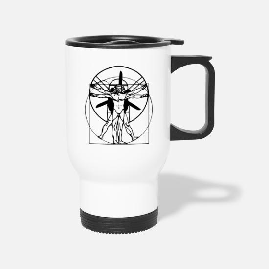Paragliding Mugs & Drinkware - vitruvian PPG man. Short Arm - Travel Mug white