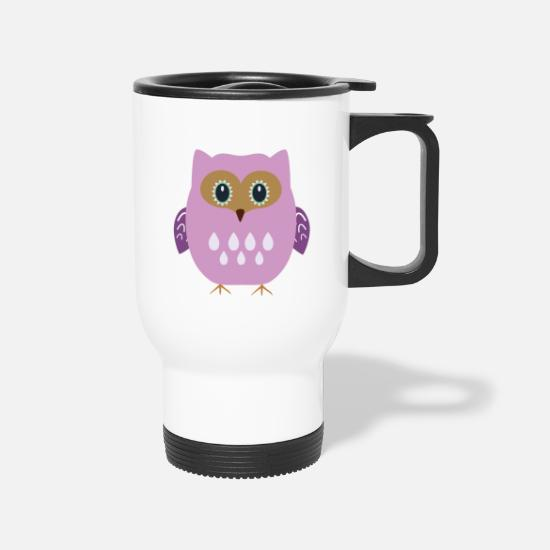 Owl Mugs & Drinkware - Pink owl - Travel Mug white