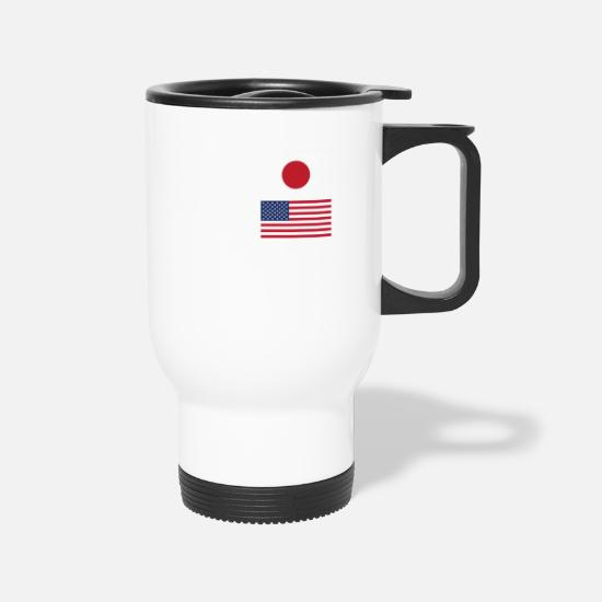 Awesome Mugs & Drinkware - 50% Japanese 50% American 100% Awesome Funny Flag - Travel Mug white