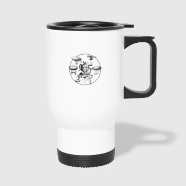 Industrial Futuristic Ships in the sky - Travel Mug