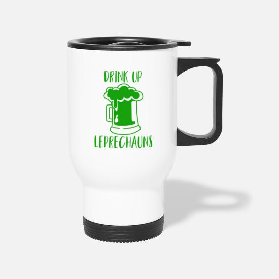 Shamrock Mugs & Drinkware - Drink Up Leprechauns Green Beer Drinking - Travel Mug white