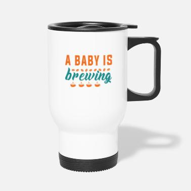Pregnancy Funny Pregnancy Announcement A baby is Brewing - Travel Mug