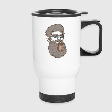 Beard Weasel Funny Beard Design - Travel Mug