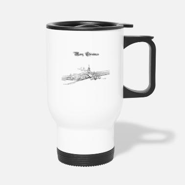 White Comfy Christmas Line Design | Hoddie & Gift - Travel Mug