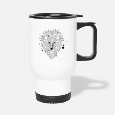 White The lion king, The angry lion great animal funny - Travel Mug