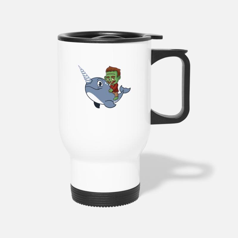 White Narwhal Riding Funny Zombie Travel Mug N0vwmn8