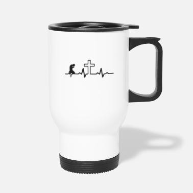 Cross Jesus Christ Heartbeat with christian cross - Travel Mug