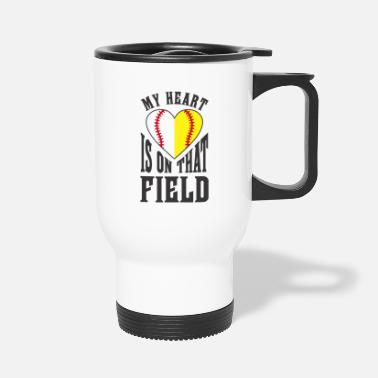 Softball Softball Baseball Heart Ball Sports Gift Idea - Travel Mug