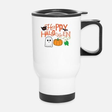 Happy Halloween Pumpkin Ghost Cat Bat Costume Pillowcase 32'' x 20'' - white