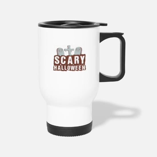 Gift Idea Mugs & Drinkware - Tombstone Halloween Creepy Cross RIP - Travel Mug white