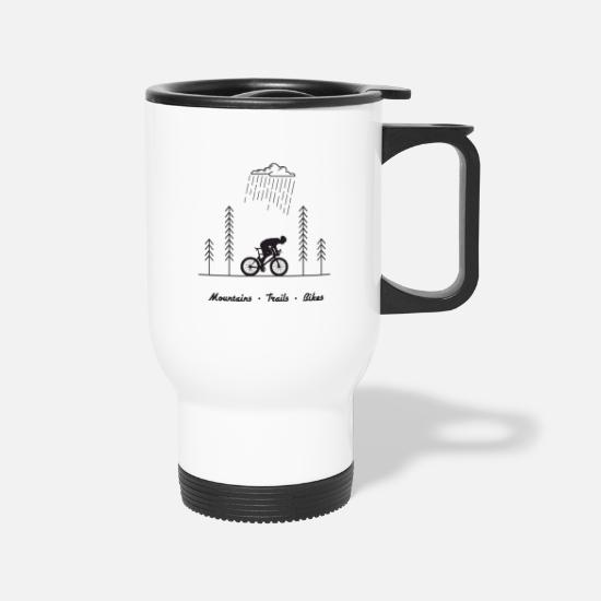 Yoga Mugs & Drinkware - Cycling, Bicycle, Gift for Bikers, Mountain Bike - Travel Mug white