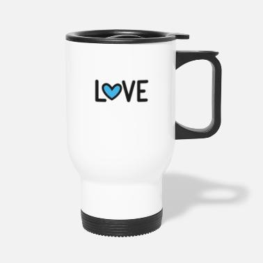 Heart Love - with heart in blue - Travel Mug