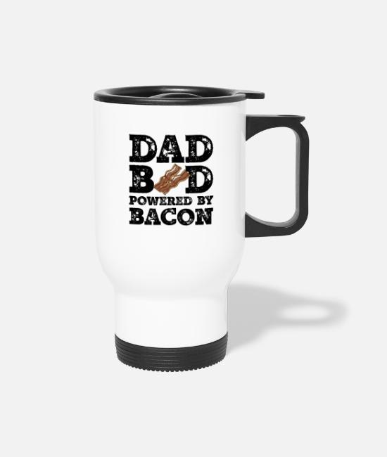Father's Day Mugs & Cups - Dad Bod Powered By Bacon Father Figure Gifts Idea - Travel Mug white