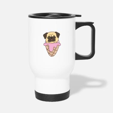 Pink Pug Puppy Dog Pink Ice Cream Waffle Cute Animals - Travel Mug