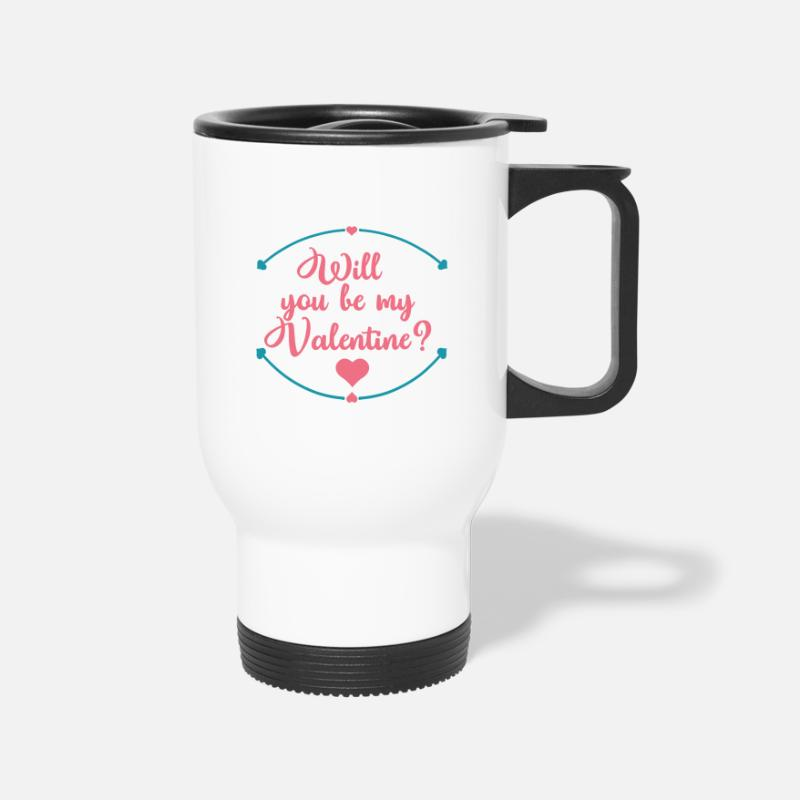 Day Mugs & Drinkware - Will You be my Valentine funny Valentines Day - Travel Mug white
