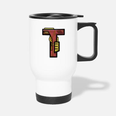 Present Initial letter character robot gift present name T - Travel Mug
