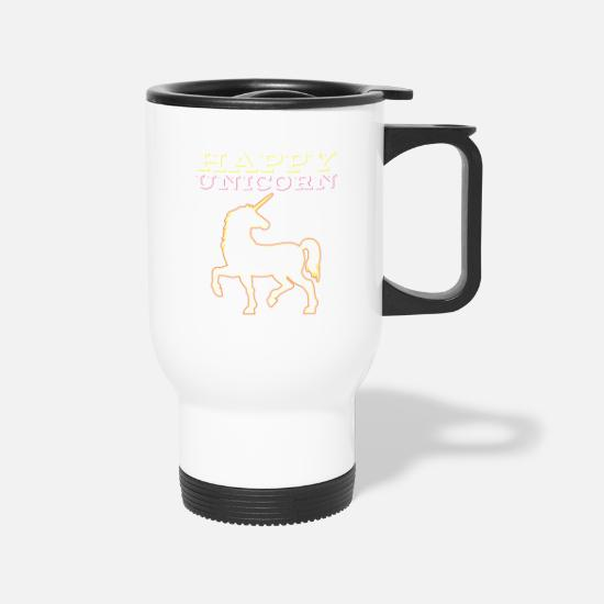 Pet Mugs & Drinkware - HAPPY UNICORN Gift Motive T-Shirt - Travel Mug white