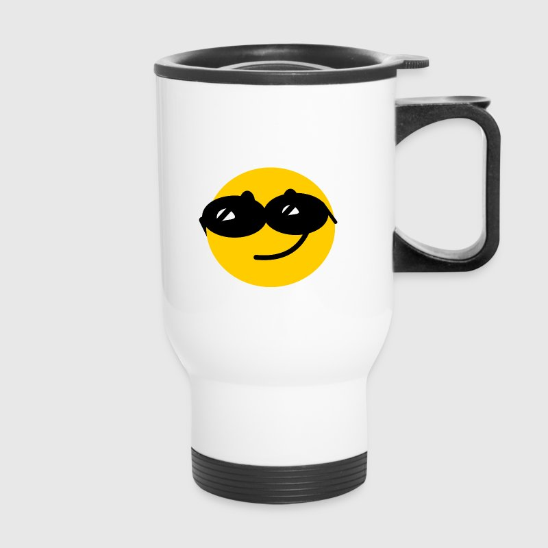 Flirty Cool Smiley face with sunglasses - Travel Mug