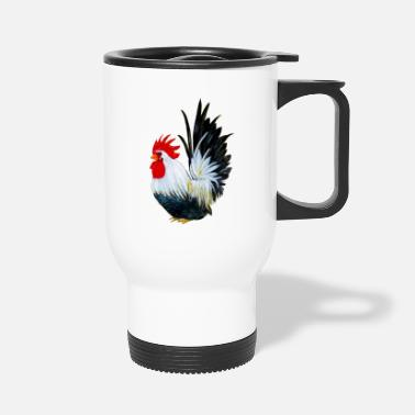 Rooster Chicken farm animal painting - Travel Mug