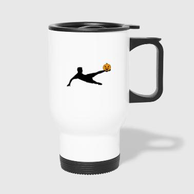 Halloween Soccer Player Volley - Travel Mug