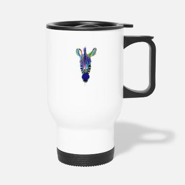 Wildlife Zebra Face Head Portrait Beautiful Splash Artwork - Travel Mug