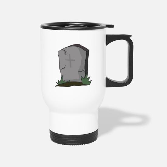 Brain Mugs & Drinkware - Halloween Gravestone Tombstone - Travel Mug white