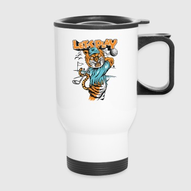 Tiger-plays-golf-comic strip - Travel Mug
