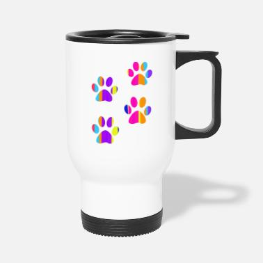 Paw colorful dog paw prints - Travel Mug