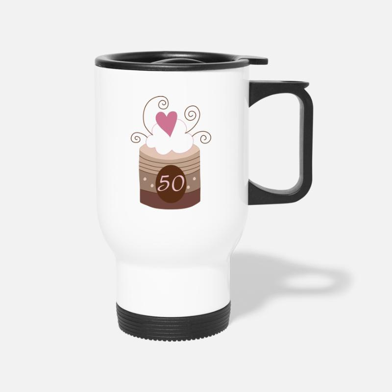 Birthday Mugs & Drinkware - 50th Birthday or Anniversary - Travel Mug white