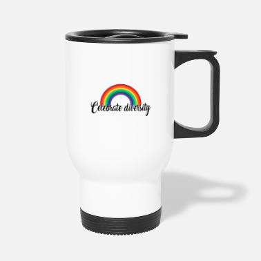 Gay Pride Celebrate diversity. Rainbow Gay Design - Travel Mug