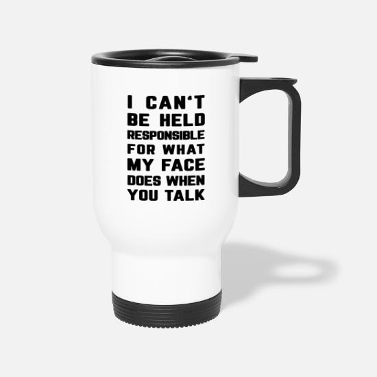 Irony Mugs & Drinkware - Sarcasm Present Sarcastic Irony - Travel Mug white