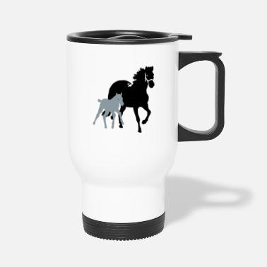 Mare mare with foal - Travel Mug