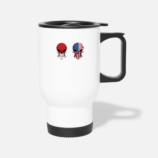 Japanese Mugs & Drinkware - Japanese American Flag Skulls - Travel Mug white