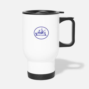 Boat Commercial Fishing Boat Oval Woodcut - Travel Mug