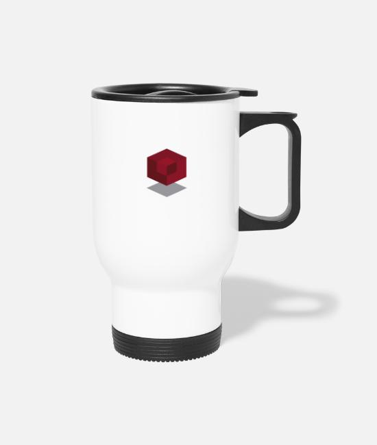 Red Mugs & Drinkware - Abstract cube - Travel Mug white