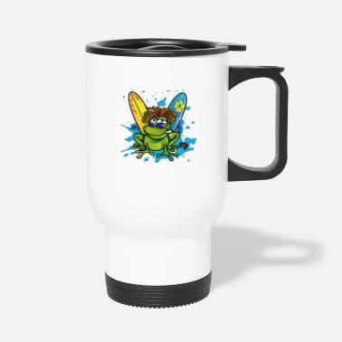 Frog Summer jamaican cartoon frog water color - Travel Mug
