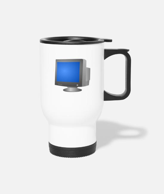 Lay Mugs & Cups - CRT monitor - Travel Mug white