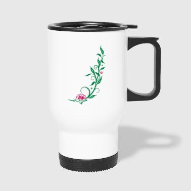 Bamboo with small blossoms and lotus flower. - Travel Mug